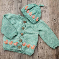 Water Green Baby Cardigan With Matching Hat - Hand Knit Baby Jacket With Peach Colored Ducks - Handmade Sweater for 9 - 12 Months Old Baby