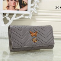 Gucci Stylish Women Metal Letter Butterfly Leather Purse Wallet Grey I-MYJSY-BB