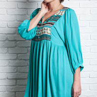 Multi Patterned Peasant Dress - Emerald - Curvy