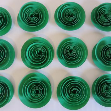 """set of 12 green paper flowers, 1.5"""" rose embellishment, DIY projects, Bling it with flowers, Loose 3D table scatter confetti bar, table decorations"""