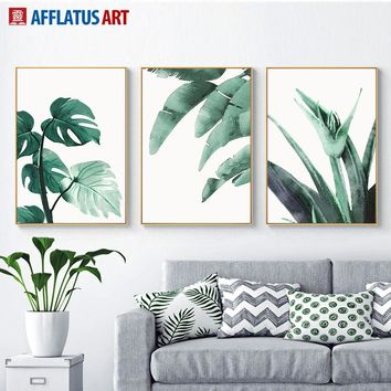 Watercolor Green Tropical Big Leaves Wall Art Canvas Painting Nordic Posters And Prints Wall Pictures For Living Room Home Decor
