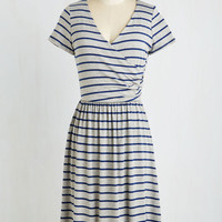 Mid-length Short Sleeves A-line Botanical Breakfast Dress in Navy Stripes