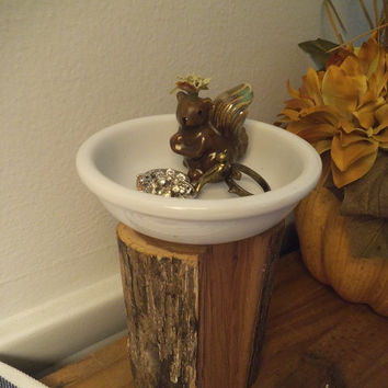 Adorable upcycled Wood and Squirrel Ring Pedestal Dish ~ Charming re-purposed Cottage Chic