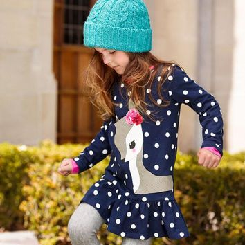 Toddlers Girls Dots Deer Pleated Cotton Dress Long Sleeve Dresses