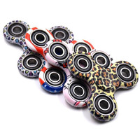 2017 Fidget Spinners Toy Hand Spinner Decompression Hand Fingers Gyro Toy Leopard Pattern Triangle Fingertips Spinner Free DHL BEY011