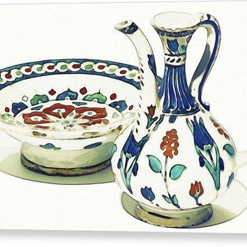 An Ottoman Iznik Style Floral Design Pottery Polychrome, By Adam Asar, No 4a - Canvas Print