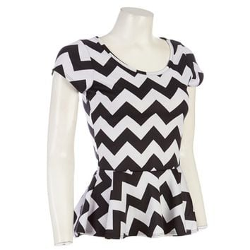 Peplum Chevron Top Jr  244384449 | Tops | Juniors | Women | Burlington Coat Factory