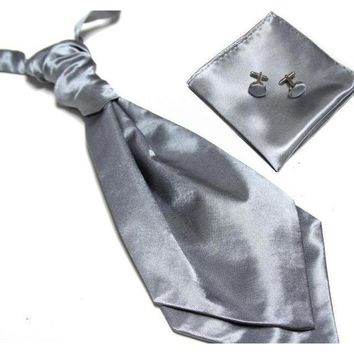 Men's Ascot/Cravat Tie, Cufflinks & Pocket Square/Handkerchief Set