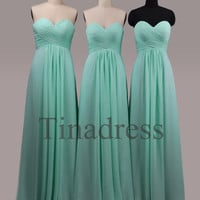 Custom Mint Long Bridesmaid Dresses 2014 Fashion Prom Dresses Wedding Party Dress Formal Party Dress Evening Gowns Homecoming Dresses