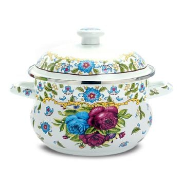 free shipping casserole enamel thick soup pot rose sauceboxes induction cooker general cookware kitchen utensil