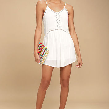 Amuse Society Tatum White Crochet Mini Dress