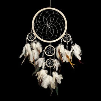 "Dream Catcher ~ Traditional Cream & Silver with Black & White feathers 8.5"" Diameter & 20"" Long!"