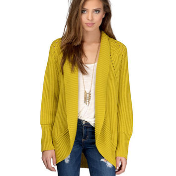 Yellow Shawl Neck Knitted Cardigan