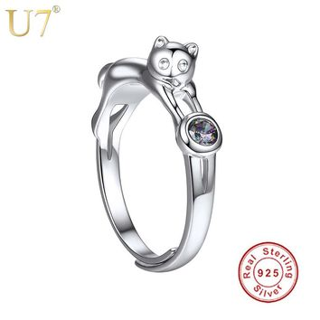 U7 925 Sterling Silver Cat Rings for Women Girls Gift Her Finger Ring Adjustable Cute Animal 100% Sterling Silver Jewelry SC09