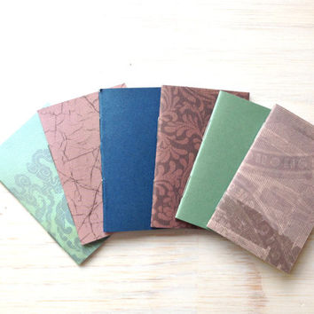 Wedding Favors: Notebooks, Purple, Teal, Muted, 6 Tiny Journals Set, Wedding Favors, Mini Journals, Small, Unique, Party Favors