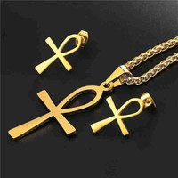 Ankh Life Jewelry Set | Necklace Earring & Pendant