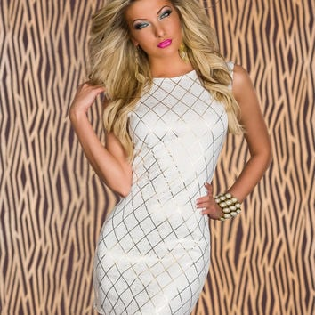 White with Gold Fence Pattern Print Sleeveless Mini Dress