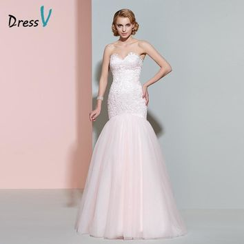 Dressv pink lace wedding dress sweetheart sleeveless zipper up floor length mermaid wedding dress elegant trumpet bridal gown
