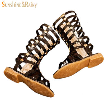 2016 Summer Baby Girl Leather Sandals Cut-Outs Hollow Roman Sandals Children Knee Boots Gladiator Kid Flat Glitter Star PU Shoes