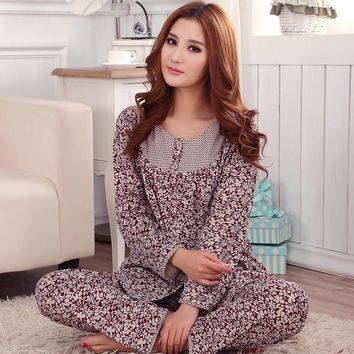 Spring and autumn Cotton Cardigan Long sleeves Loose Pajamas suit