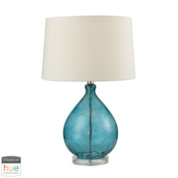 Wayfarer Glass Table Lamp in Teal - with Philips Hue LED Bulb/Dimmer
