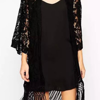 Black Lace Fringed Kimono Cover-up