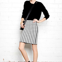 Mod Grid Pencil Skirt