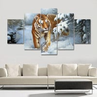 Large Oil Painting Tigers Painting Home Decor on Canvas Modern Wall Art Canvas Print Poster Canvas Painting Unframed 5 Pieces