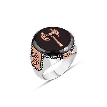 Mens 925 sterling silver ring with onyx gemstone and ax