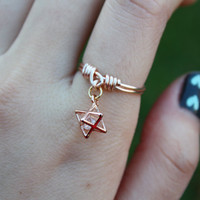 Rose Gold Star Ring//Rose gold ring, Cubic zirconia ring, Star Ring, Dangle Charm Ring, Charm Ring, Wire Ring, Dainty Ring, Gift, Stackable