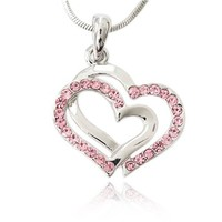 Pink Crystal Double Heart Charm Pendant Necklace Fashion Jewelry | AihaZone Store
