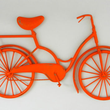 Orange Bicycle Wall Art   Outdoor Metal Wall Art   Metal Bike Art   Orange  Beach