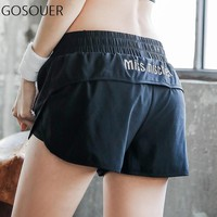 Women Sport Shorts Yoga Running Gym Short Workout Breathable Shorts with Lining 2 in 1 Black Unisex Summer Yoga Shorts