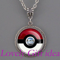 pokemon pokeball necklace,chrome button necklace,pokemon necklace,women jewelry men kid necklace Pocket Custom necklace.silver/bronze chain