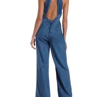 Meborn Open Back Ruched Wrap Denim Chambray Jumpsuit