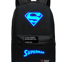 Superman Backpack Anime Fashion Women Men Logo Canvas Students School Bag
