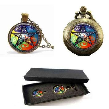 Newest 2017 Pentacle Glass Photo pendant necklace Dome jewelry vintage bronze Occult Wiccan  pocket watch with free box