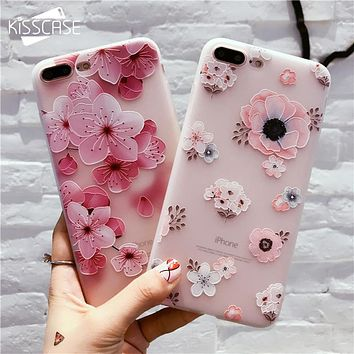 KISSCASE Flower Patterned Case For iPhone 6 6s 7 Plus Cover Soft Silicone Floral Protect Cover For iPhone 5S SE 8 Plus X 10 Capa