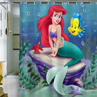 "ariel the little mermaid shower curtain by holidayshowercurtain size 36"" x 72"", 48"" x 72"", 60"" x 72"" , 66"" x 72"""