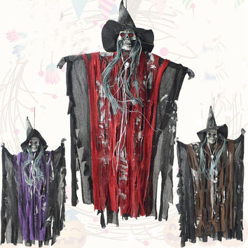 Halloween Prop Electric Luminous Fun Animated Speaking Witch Glowing Red Eyes Hanging Halloween Decoration