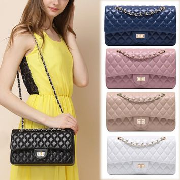 CHARMIYI Genuine Leather Women Handbag Candy Color Lattice Shoulder Bag Crossbody for Girls Messenger Bags Chain Summer Bags