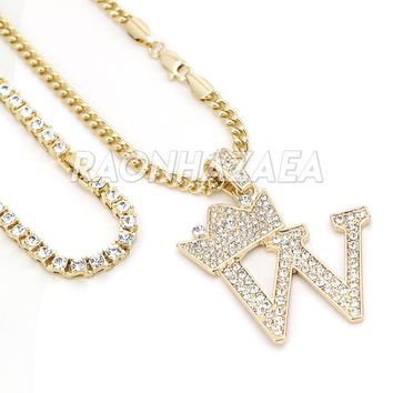 Iced Out Crown W Initial Pendant Necklace Set