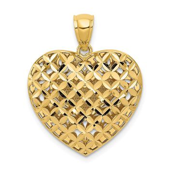 14k Yellow and White Gold Two-tone Filigree & Basket Weave Reversible Heart Pendant Length 24mm