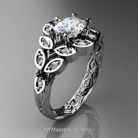 Art Masters Nature Inspired 14K White Gold 1.0 Ct Oval White Sapphire Diamond Leaf and Vine Solitaire Ring R267-14KWGDWS