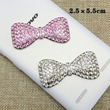 Wood Meets Color Full Diamond Butterfly Knot DIY Beauty Cell Phone Shell Jewelry Stickers Drill Mobile Phone Stickers