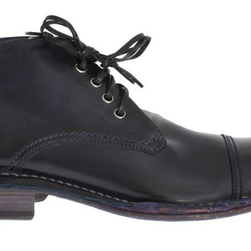 Dolce & Gabbana Blue Leather Ankle Chukka Boots