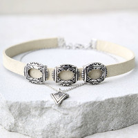 Style Showdown Silver and Beige Layered Choker Necklace
