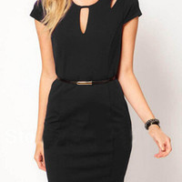 Black Cut-Out Detailed Bodycon Dress with Waist Belt