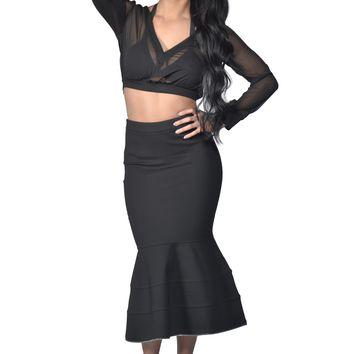 'Ava' Black Three Piece Mesh Top and Skirt Set
