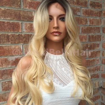 Cayle Bayalage Rooted Blond Human Hair Blend Lace Part Wig 24""